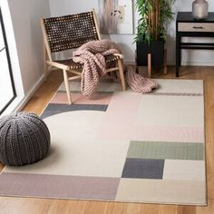 Well Woven Cabana Geometric Yellow/White Area Rug | Wayfair Modern Rugs, Mid-century Modern, Contemporary, Living Room Bedroom, Living Room Decor, Dining Room, Dark Blue Green, White Area Rug, Online Home Decor Stores