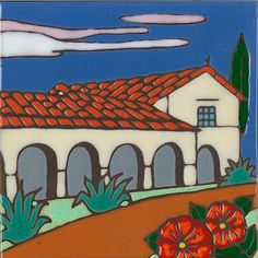 Mission San Juan Bautista Calif. handpainted ceramic tile by PacificBlueTile on Etsy https://www.etsy.com/listing/179572281/mission-san-juan-bautista-calif