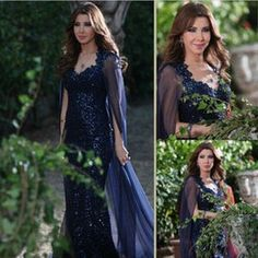 Sequins Celebrity Dresses with Chiffon Cape 2016 Nancy Ajram Sheer Back Sheath Sweetheart Neckline Navy Long Formal Party Evening Gowns