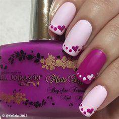 Easy Valentines Nails by Yagala via @nailartgallery #nailartgallery #nailart #nails #polish #valentinesday #easynailart #yagala