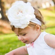 RuffleButts White Rose Headband $9.50