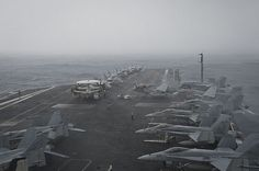 INDIAN OCEAN (June 9, 2013) The aircraft carrier USS Nimitz (CVN 68) transits through inclement weather. The Nimitz Carrier Strike Group is deployed to the U.S. 5th Fleet area of responsibility conducting maritime security operations and theater security cooperation efforts. (U.S. Navy photo by Mass Communication Specialist 3rd Class Raul Moreno Jr./Released)