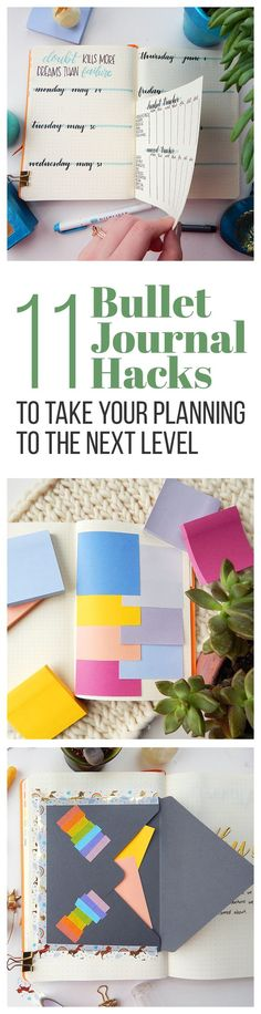 There are plenty of ways to use your for productivity, but these 11 bullet journal hacks will have you looking at things in a new way. These quick tips will help you up your level of productivity and add some extra spunk to your journal! Bullet Journal Décoration, Bullet Journal Banners, Bullet Journal Spread, Bullet Journal Layout, My Journal, Journal Pages, Bullet Journal For Teachers, Bullet Journal Finance, Bullet Journal Habit Tracker