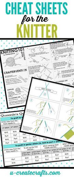 Cheat Sheets for the Knitter | U Create | Bloglovin'