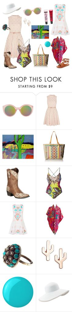 """""""Southwest Summer"""" by irena-monticelli on Polyvore featuring Topshop, Yumi, Frye, Lane, Mara Hoffman, Juliet Dunn, Hermès, CAM, Essie and Eric Javits"""