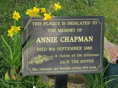 "Annie Eliza Smith Chapman - Victim of Jack the Ripper. At the age of 47, she was the second of five confirmed Ripper victims. Most modern investigators and researchers believe that Jack the Ripper had more victims than the five confirmed ones. At five feet tall, overweight, with blue eyes and brown hair, she was known on the streets of East London as ""Dark Annie."""