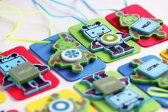 Robot Craft Kit for Kids / 12 DIY Necklaces / Party Craft / Favors / Play Date Activity. $10.00, via Etsy.
