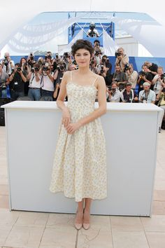 Audrey Tautou, host of the 2013 Cannes Film Festival opening and closing ceremonies wearing a daisy-print dress by Red Valentino. You read it correctly, a daisy print dress. Simple, elegant, au currant. http://www.vogue.co.uk/