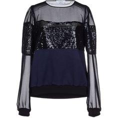 Axara Paris Sweatshirt ($140) ❤ liked on Polyvore featuring tops, hoodies, sweatshirts, black, long sleeve sweatshirt, long sleeve tops, black top, axara and black long sleeve top