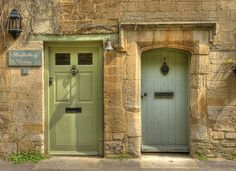 Front Door in Farrow and Ball Cooking Apple Green and Oval Room Blue Cotswold Stone House (Part 2: The Greens)
