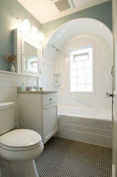 arched bath/shower, hex tile