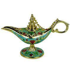 Ornate Aladin Magic Genie Lamp Oil Lamp Incense Burner Aladdin Light Blue 7