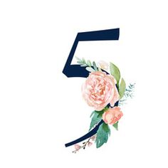 Navy Floral Number - digit 5 with flowers bouquet composition. Unique collection for wedding invites decoration & other concept ideas. Monthly Baby Photos, Watercolor Lettering, Bullet Journal Themes, Lettering Styles, Wallpaper Iphone Disney, Alphabet And Numbers, Letter Art, Watercolor Flowers, Wedding Invitations