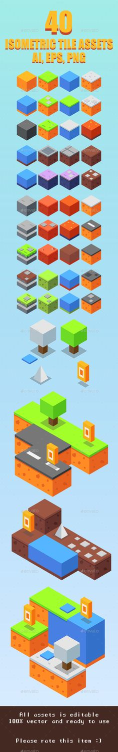 Game Asset : 40 Isometric Tiles — Vector EPS #block #button • Available here → https://graphicriver.net/item/game-asset-40-isometric-tiles/17477882?ref=pxcr