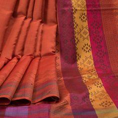 Rema Kumar Grenadier Orange Hand Printed Dupion Tussar Silk Saree 10001708 - AVISHYA