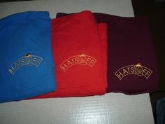 """HATS OFF logo on a different color pocket """"T"""" shirts with a Saten embroidery pattern fill Embroidery Services, Embroidery Patterns, Fill, Company Logo, Pocket, Hats, T Shirt, Color, Needlepoint Patterns"""