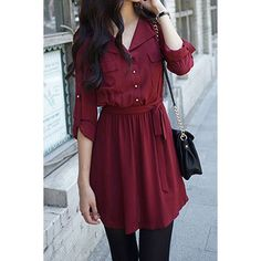 Casual Shirt Collar Long Sleeves Single Breasted Solid Color Dress For Women