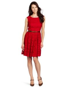 Amazon.com: London Times Women's Belted Lace Sheath Dress: Clothing