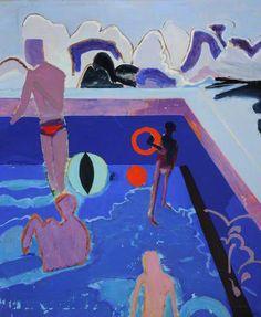 Swimming Pool by David Michie (Scottish b.1928)