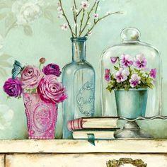 Оригинал схемы вышивки «Натюрморт с цветами»