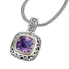 18K/SILVER WITH AMETHYST CUSHION CUT PEND. AM-15MM - Eleganza - Designers - Jewelry
