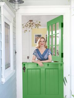 """dutch door in """"golf course"""" by dunn edwards.hmmm this could be cute color for my dutch door! Architecture Unique, Half Doors, Painted Front Doors, Kabine, Front Door Colors, California Homes, Windows, My Dream Home, Home Remodeling"""