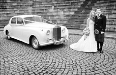 Lovely black and white of the bride & groom at Dynamic Earth on their wedding day. #Dynamicearth #Edinburgh #Weddingcar #Brideandgroom #Blackandwhite #Kilt #Wedingdress #Flowers
