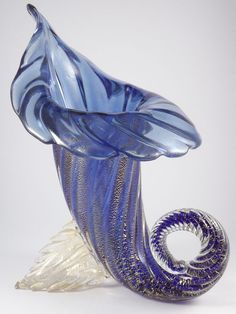 Murano glass cornucopia vase.  Had one of these in opalescent and gold lutz.  Gorgeous.