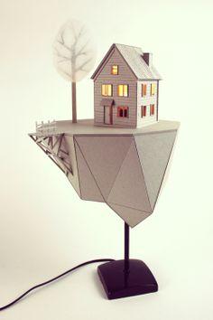 Floating Island Lamp - Cardboard Lamp by Vera van Wolferen