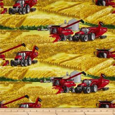 Case IH Harvesting Allover Multi from @fabricdotcom  From CNH America, this cotton print is perfect for quilting, apparel and home decor accents.  Colors include black, white, red, grey, green, yellow, tan and brown.