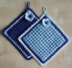 a knit and crochet community Learn the basics of how to needlecraft (generic term), at the very firs Crochet Potholder Patterns, Crochet Dishcloths, Crochet Doilies, Knitting Patterns, Crochet Kitchen, Crochet Home, Crochet Yarn, Crochet Hot Pads, Yarn Crafts