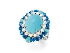 Turquoise, Sapphire, Diamond and 18K White Gold Ring « Dupuis Fine Jewellery Auctioneers