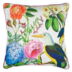 Summer Pillow #Birds #Floral