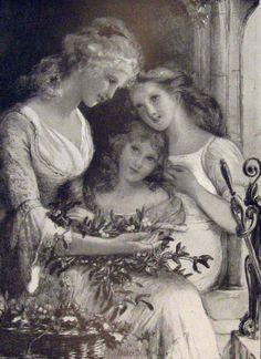 Marcella M Walker - Where shall We hang the Mistletoe - Victorian Illustration, Mistletoe, Irish, Statue, Painting, Art, Art Background, Irish Language, Painting Art