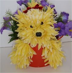 DOG~Yorkie flower arrangement for animal lovers. Creative Flower Arrangements, Funeral Flower Arrangements, Funeral Flowers, Floral Arrangements, My Flower, Flower Art, Floral Centerpieces, Flower Designs, Beautiful Flowers