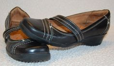 Naturalizer 6 6M 36 Black Leather Mary Janes Wedge Heel Womens Shoes Dress #Naturalizer #MaryJanes