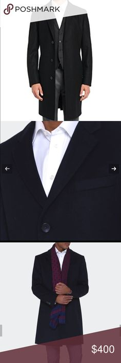 Hugo Boss Men's Status black Cashmere trench coat Beautiful coat worn only a few times. Gorgeous perfect condition Description Classic lapel collar overcoat from HUGO. Made from a soft, luxurious wool blend. Cut in a regular fit, the length of this coat falls just above the knee Cashmere wool blend  Regular fit 80% Virgin wool, 20% Polyamid Notch lapel 3 buttons Dry Clean Only. 42R very slim cut Hugo Boss Jackets & Coats Trench Coats