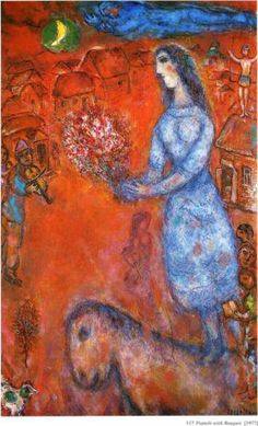 Fiancee with bouquet - Marc Chagall