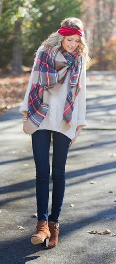 blanket scarf + loose knit