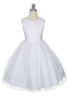 Stunning sleeveless satin flower girl dress with a calf-length skirt with a delicate sheer organza overlay The dress fastens with a zip which is