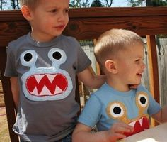 Blue Bernard the Monster Tee on S/S Slate sizes Monster Birthday Parties, Elmo Party, Monster Party, Boy Birthday, Little Monsters, Pach Aplique, Sewing For Kids, Little Boys, Boy Outfits