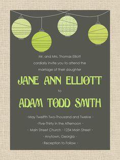 Printable Green and Gray Lantern Wedding Invitation by GeorgiaPink.