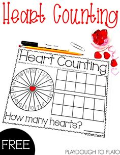 Heart Counting! A free fun Valentine's Day counting activity that is perfect for February math centers with preschool and kindergarten kids! #PlaydoughToPlato #ValentinesDayFreebies #mathfreebies #FebruaryMathCenters