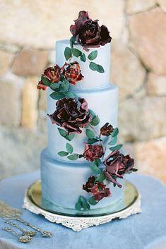 42 Eye-Catching Unique Wedding Cakes ❤️ unique wedding cakes blue with voluminous dark burgundy roses amelia johnson photography #weddingforward #wedding #bride #bridalcake #uniqueweddingcakes