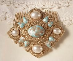 TRUE Vintage Turquoise & Ivory Pearl Gold Bridal Hair Comb, Art Deco Victorian Antique Gold Heirloom Aqua Brooch to Unique Hair Comb