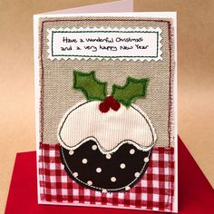 Stitched Christmas pudding card