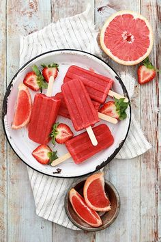 Grapefruit + strawberry popsicles. #summer #desserts #popsicles