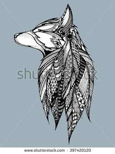 Profile wolf. Howling wolf. Portrait of a wolf. Stylized dog. Head. Line art. Black and white drawing by hand. Zentangl. - stock vector