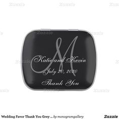 Wedding Favor Thank You Grey Black Monogram Names Jelly Belly Candy Tins