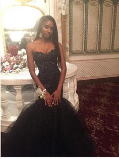 cecc948490b 2016 Sexy Sweetheart Black Girls Mermaid Prom Dresses Tulle Beaded Floor  Length Party Evening Gowns Ba2485
